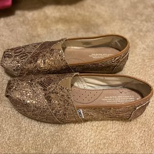 Toms size 8 slip ons- copper gold- good used cond